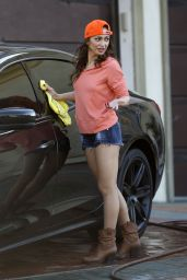Karina Smirnoff Shows Her Shapely Legs - Washing car in Los Angeles 2/4/2016