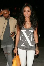 Karrueche Tran Wearing a Low Cut Tank Top - Nice Guy in West Hollywood 2/8/2016