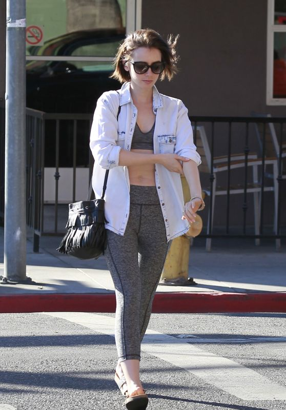 Lily Collins in Leggigns - Lunch at Hugo