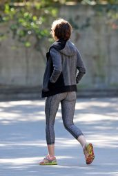 Lily Collins in Leggings - Out in Fryman Canyon Park in Los Angeles, 2/3/2016