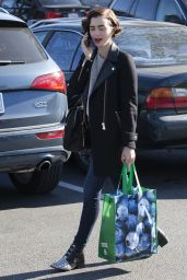 Lily Collins - Shopping at Pavilions Supermarket in Los Angeles, CA 2/4/2016