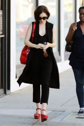 Lily Collins Street Fashion - Leaving Cryohealthcare in Los Angeles 2/21/2016