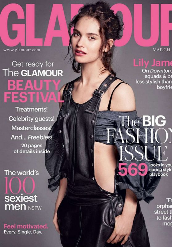 Lily James - Glamour Magazine UK March 2016 Cover and Pic