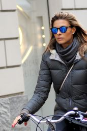 Martina Colombari - Riding Her Bicycle in Milan, January 2016