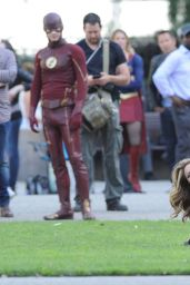 Melissa Benoist - Supergirl Set Photos - Los Angeles 2/22/2016