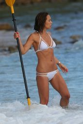 Myleene Klass in White Bikini at a Beach in Thailand 2/14/2016