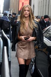 Nina Agdal Is Stylish - Out in NYC, February 2016