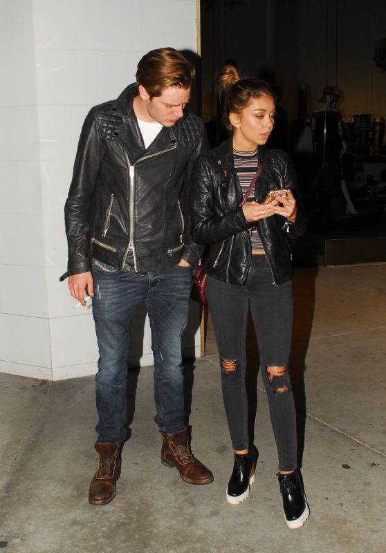 Sarah Hyland and Dominic Sherwood - Wait for Their Uber After Leaving a West Hollywod Bar, February 2016