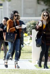 Vanessa and Stella Hudgens - Forest Lawn Cemetery in Los Angeles, February 2016