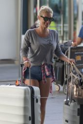 Zelda Williams Leggy in Jeans Shorts - Airport in Sydney, February 2016