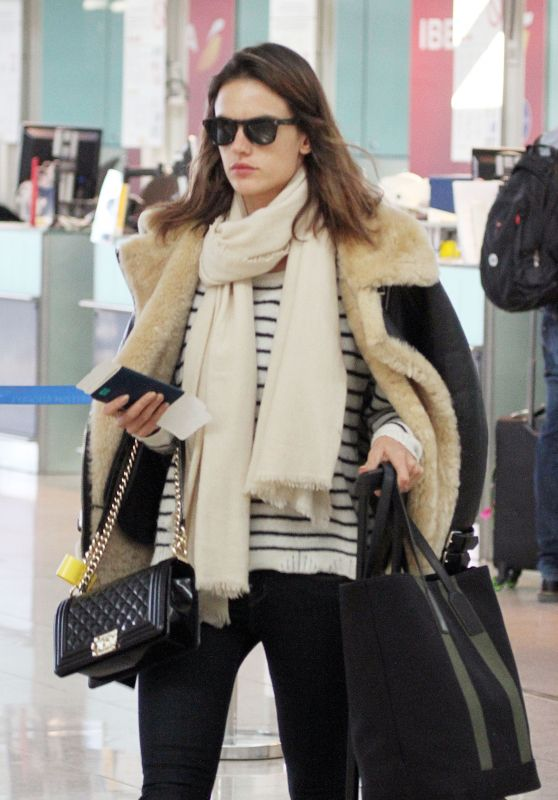 Alessandra Ambrosio at Barcelona Airport, Spain 3/18/2016