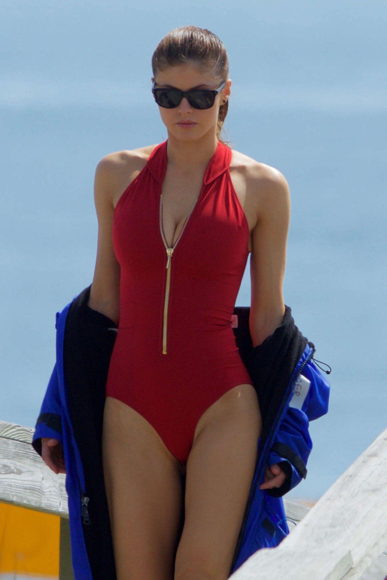 Alexandra Daddario In Red Swimsuit Baywatch Set In Tybee