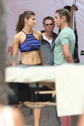 Alexandra Daddario On The Set of Baywatch in Miami, FL 3/5/2016