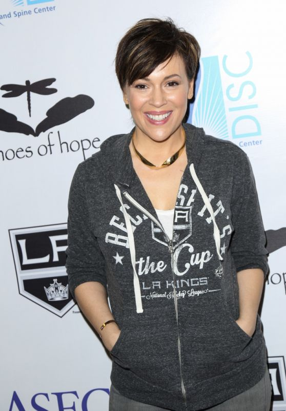 Alyssa Milano - Luc Robitaille Celebrity Shootout in Los Angeles 3/20/2016