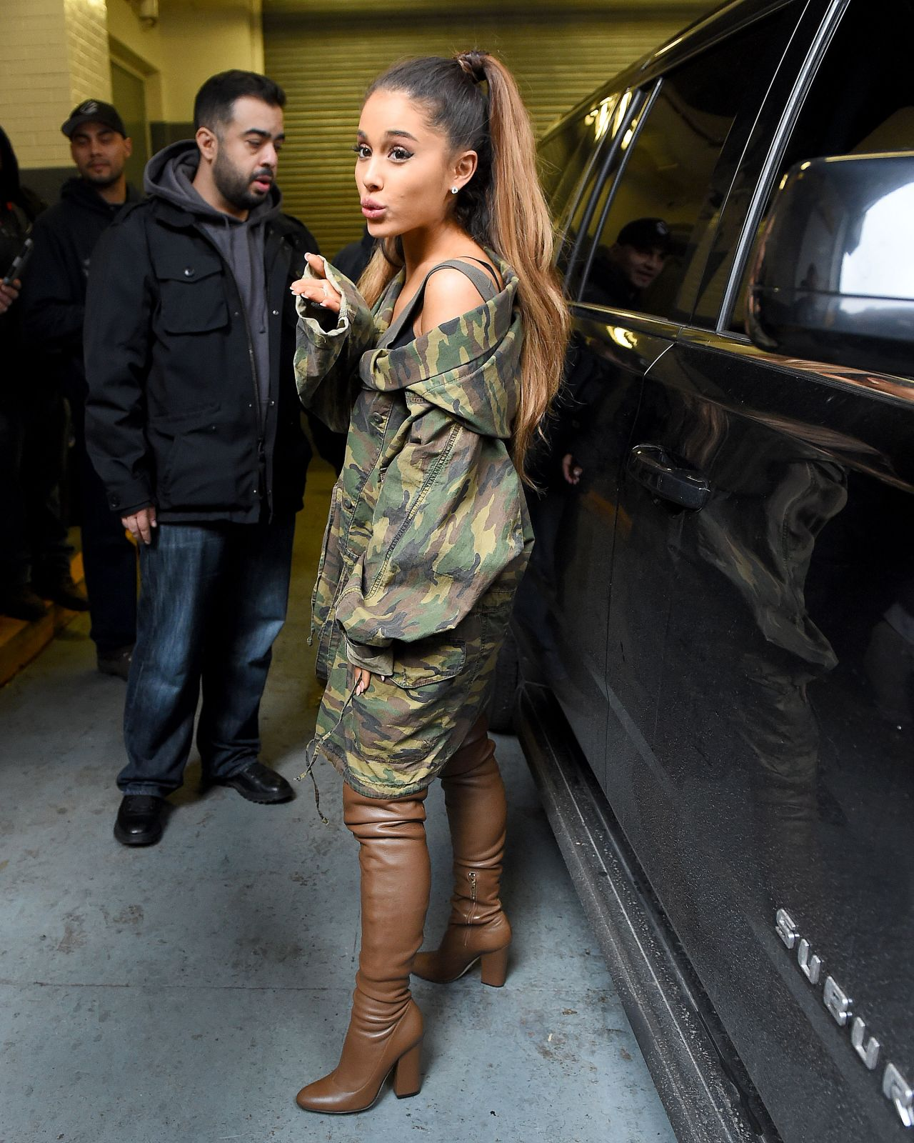 Ariana Grande Greeting Fans Outside Z100 Studios In New