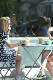Caggie Dunlop Shares Some Interesting News With a Girlfriend in Los Angeles, CA 3/27/2016
