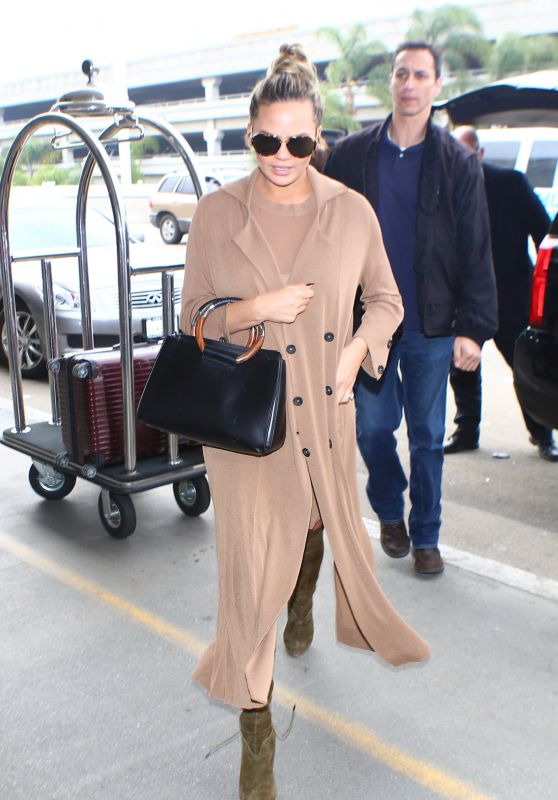 Chrissy Teigen - LAX Airport in Los Angeles, CA 2/29/2016
