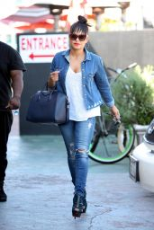 Christina Milian in a Denim Outfit and Heels - Los Angeles 3/21/2016