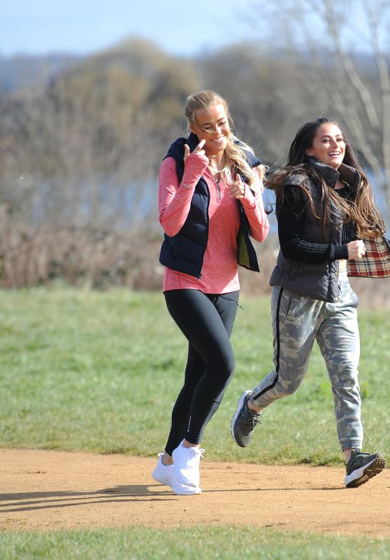Courtney Green & Chloe Meadows - Going for a Run as They Film Scenes for TOWIE in Essex, UK 3/7/2016