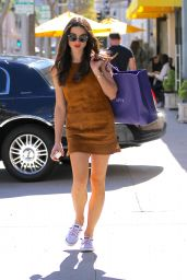 Crystal Reed in Mini Dress - Shopping in Beverly Hills 3/23/2016