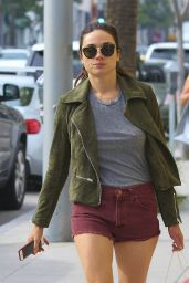 Crystal Reed Leggy in Shorts - Shops in Beverly Hills, CA 3/3/2016