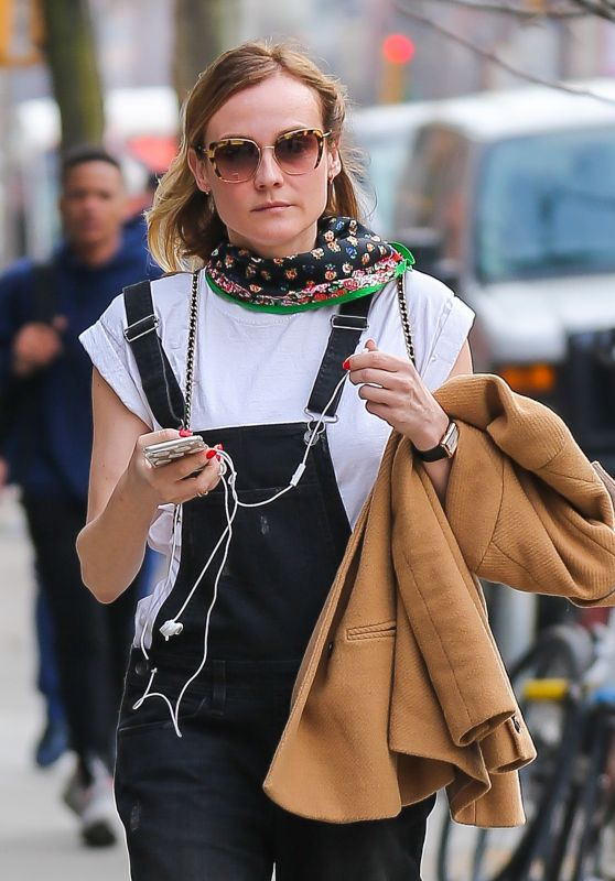 Diane Kruger Casual Style - Out For a Walk in the East Village in NY 3/24/2016