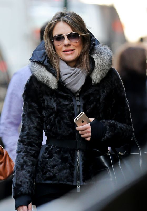 Elizabeth Hurley - Looking warm and Stylish as she Takes a Walk in New York, March 2016