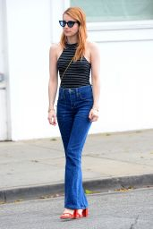 Emma Robertsin Jeans - Visits an Office in Beverly Hills 3/29/2016