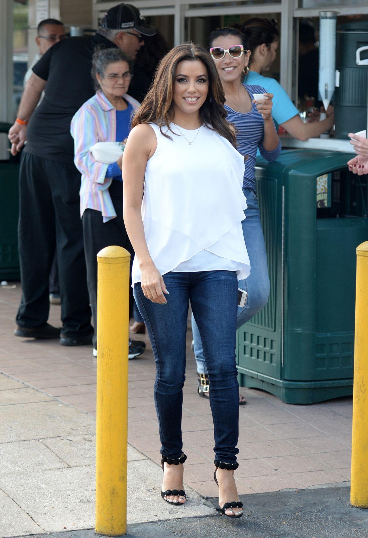 Eva Longoria Leaving Cafe Versailles Cuban Restaurant In