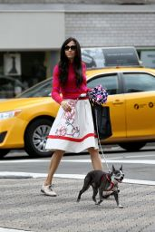 Famke Janssen Walks Home With Her Dog Licorice in New York City 3/10/2016