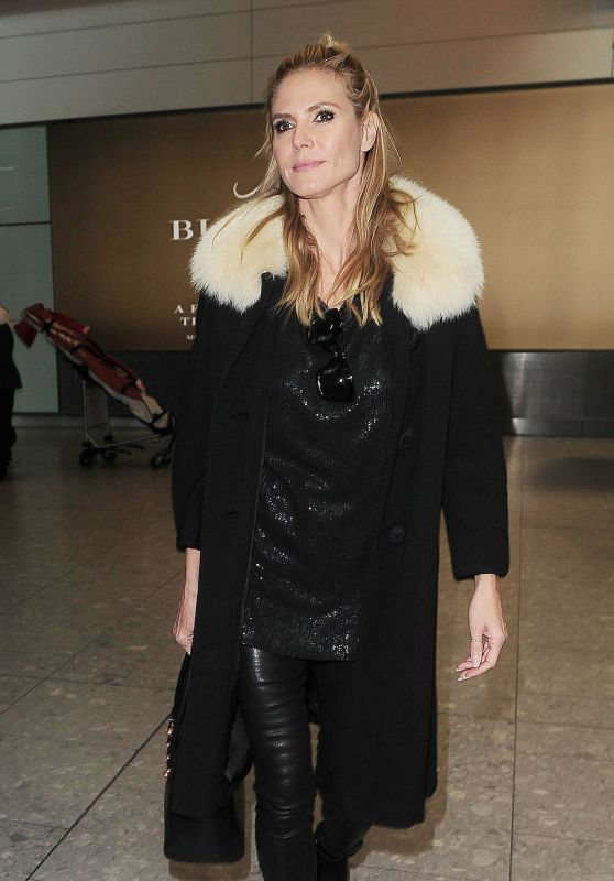 Heidi Klum at Heathrow Airport in London, UK 3/13/2016