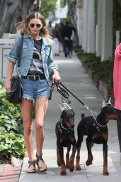 Isabella Lindbloom in Jeans Shorts - Walking Her Two Doberman Dogs - Melrose Place in West Hollywood 3/21/2016