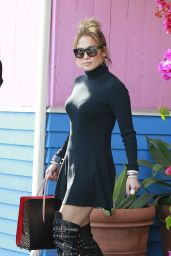 Jennifer Lopez in Mini Dress and Bondage-Inspired Boots - Out in West Hollywood, March 2016