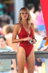 Kelly Rohrbach in Red Swimsuit on set of Baywatch in Miami, March 2016