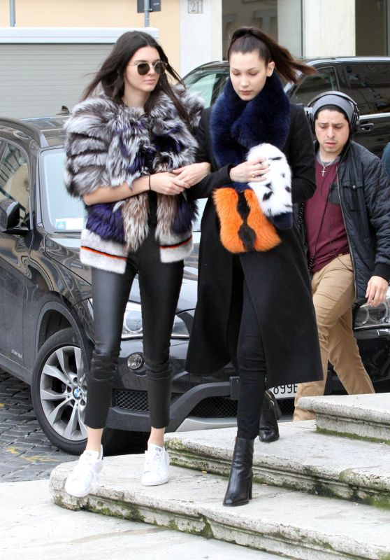 Kendall Jenner and Bella Hadid - Rome, Italy 3/10/2016