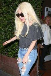 Lady Gaga in RIpped Jeans - at Giorgio Baldi Italian Restaurant in Santa Monica 3/20/2016