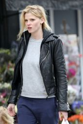 Lara Stone Looks Cool and Casual in a Leather Biker Jacket - London, UK March 2016