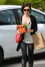 Lily Collins Carries a Basket of Flowers at Bristol Farms, March 10, 2016