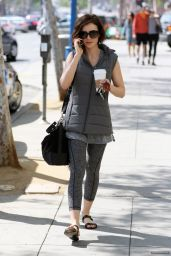 Lily Collins in Tights - Leaving a Gym in LA, February 2016