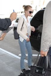 Lily-Rose Depp in Jeans and White Crop Top at LAX Airport in LA 3/21/2016