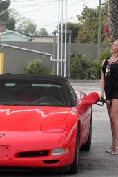 Mary Carey Shows Off Her Legs in Mini Dress - Gets Gas in Studio City, March 2016