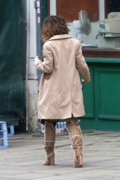 Myleene Klass Highlights Her Toned Legs in Brown Suede Boots - North London, March 2016