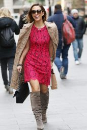Myleene Klass Looks Red Hot in a Lace Dress - Arrives at Global Radio in London 3/7/2016