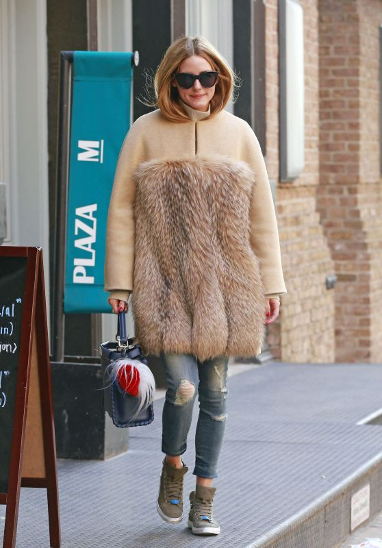 Olivia Palermo - Wears Fur Coat With Ripped Denim Jeans in New York City 3/27/2016