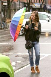 Olivia Wilde Beating the Rain With a Rainbow Umbrella - NYC 3/14/2016