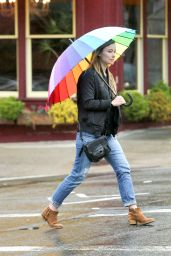 Olivia Wilde Beating the Rain With a Rainbow Umbrella - NYC 3/14/2016