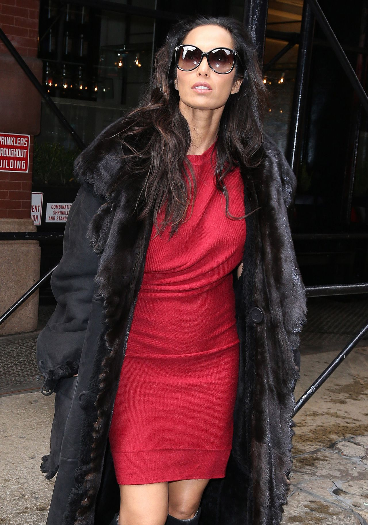 Padma Lakshmi In Soho With A Beautiful Red Dress New