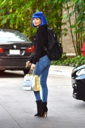 Pia Mia Perez in a Blue Wig and a Sweater Bearing Her Name - Shopping in Woodland Hills, March 2016
