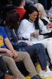 Rihanna at a Clippers Game with Her BFF Melissa Forde in Los Angeles 3/5/2016