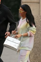 Rihanna in Pastels Similar to a Dyed Easter Egg - Leaving Her Hotel Easter Sunday in New York City 3/27/2016